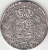 BELGIUM 1850 LEOPOLD I. 5 FRANCS FRANK SILVER COIN - 11. 5 Francs