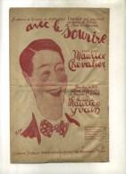 - AVEC LE SOURIRE . CHANSON DE MAURICE CHEVALIER  . - Partituras