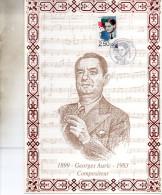 ENCART  MUSIQUE COMPOSITEUR   GEORGES  AURIC  1992 - Music