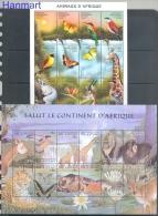Congo Kinshasa/Zaire 2000 Mi Sheet 1411-1434 MNH - Birds, Deer, Giraffe, Hippo, Wild Cats, Monkeys, Waterfalls, Butterfl - Farfalle