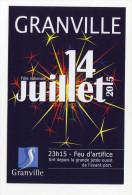 """Publicité Cartonné """"Feu D'artifice 14 Juillet 2015 - Granville / Concerts Du Théatre Marin"""" Manche - Normandie - Saisons & Fêtes"""