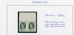 Australie 1963-Paire Horizontale Du Nr YT 290a Sans Dentelure Verticale Entre Les Timbres***MNH - Abarten Und Kuriositäten