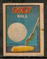 India Golf Ball & Stick Sport Match Box Packet Label Large Size Inde Indien # 03623 - Luciferdozen - Etiketten