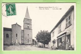 MUSSY Sous DUN - Place De L' Eglise Avec Beau Plan Animé - - Hôtel Tabac Bajard - Boulangerie - Ed. B.F. -2 Scans - France