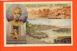 """LE CAMBODGE - PNOM-PENH-Les Colonies Françaises (pliée)(non écrite Et Non Oblitérée)Pub"""" Chocolat Et Thé De La Coloniale - Cambodge"""