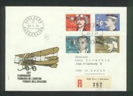 Pionniers De L'Aviation : Mittelholzer , Bider , Dufaux , Spelterini Sur Lettre Recommandée 27 01 77 - Posta Aerea