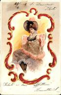 [DC2545] CPA - CARTOLINA IN RILIEVO - DONNA - MODA - ABITO CAPPELLO - Viaggiata 1903 - Old Postcard - Moda