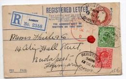 1911 - REGISTERED LETTER De CARDIFF (PAYS DE GALLES) Pour BUDAPEST - Marcofilie