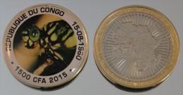 Congo (Brazzaville) 1500 CFA 2015 Bimetal Couleurs Animal - Congo (République Démocratique 1998)