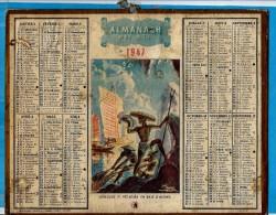 ALMANACH DES P.T.T 1947   -  Complet ** JONCQUES ET PECHEURS EN BAIE D' ALONG ** Calendrier * OBERTHUR * - Groot Formaat: 1941-60