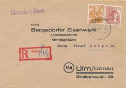 PULLACH  - 1947 , Brief Nach Ulm  Mit R-Stempel - Bizone