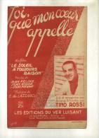 -  AU DELA DES NUAGES  . PARTITION DE CHANSON DE TINO ROSSI . - Partitions Musicales Anciennes