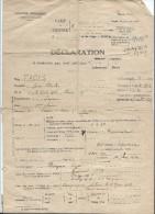 Occupation/ Imprimé De Déclaration De Libération D'un Prisonnier De Guerre Interné/Fages/Paris/1942    OL68 - Unclassified