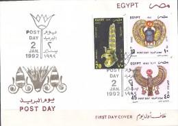 Egypte - 1992 -  Envel.1e Jour - Journée De La Poste - Bijoux Pharaoniques18e Dynastie - Y&T #1456 & AM#211-212 - Égypte