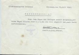 Occupation/  Laissez-passer Automobile/ Boulogne / Paris / Mademoiselle Jean Fages /Citroën/ Puiseaux/1940    OL70 - Militari