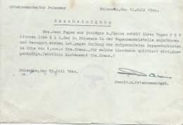 Occupation/ Autorisation De Sortie De Fourriére/Paiement De 100 Francs/Citroën/ Puiseaux/1940    OL71 - Militari