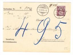 Heimat AG Lenzburg 4.9.1901 Nachnahme Karte Nach Auenstein Mit 15Rp. WZ - 1882-1906 Armoiries, Helvetia Debout & UPU