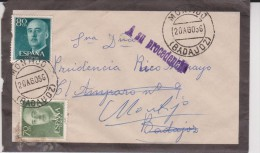 1956  Carta A Montijo Badajoz Never Opened  A Su Procedencia - 1931-Tegenwoordig: 2de Rep. - ...Juan Carlos I