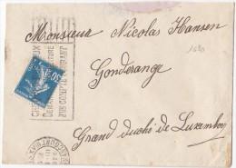 1620# SEMEUSE LETTRE Obl PARIS 1926 Pour GONDERANGE JUNGLINSTER LUXEMBOURG - 1921-1960: Modern Period