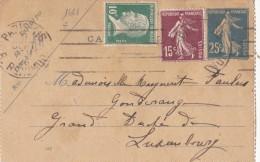 1621# PASTEUR SEMEUSE CARTE LETTRE Obl PARIS 1926 Pour GONDERANGE LUXEMBOURG - 1921-1960: Modern Period