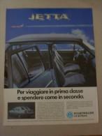 # ADVERTISING PUBBLICITA'  VOLKSWAGEN JETTA PER VIAGGIARE IN PRIMA CLASSE - 1986  -  OTTIMO - Werbung