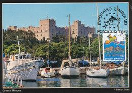 D22284 CARTE MAXIMUM CARD 1988 GREECE - RHODES GRAND MASTERS PALACE CP ORIGINAL - Architecture