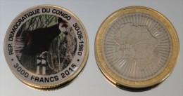 Congo RDC 3000 Francs 2015 Bimetal Couleurs Animal - Congo (République Démocratique 1998)