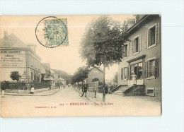 HERICOURT - Rue De La GARE Animée - Carrelages Manzoni - Epicerie, Mercerie -2 Scans - Frankrijk