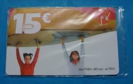 MEGA RARE KOSOVO 15 EURO CHIP CARD, PTK ND 2 GIRLS, SEALED NOT OPENED 15 EURO CREDIT MINT QUALITY. - Kosovo