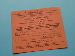 AMICALE De L´Armée Belge / Anno 1956/57 ( Boon Denis / Zie Foto´s Voor Details) ! - Documenten