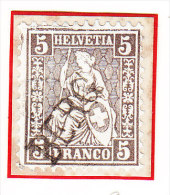 Heimat TG BERG Langstempel Auf 5Rp Sitzende Helvetia Seltene Graubraune Farbe - 1854-1862 Helvetia (Non-dentelés)