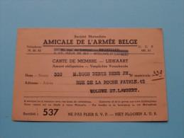 AMICALE De L´Armée Belge LIDKAART N° 339 / Anno 1950/51 ( Boon Denis / Zie Foto´s Voor Details) ! - Documenten