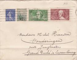 1637# CHOMEURS INTELLECTUELS ORPHELIN LETTRE Obl PARIS 1937 GONDERANGE JUNGLINSTER LUXEMBOURG - 1921-1960: Modern Period