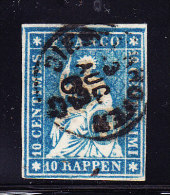 Heimat TG DIESSENHOFEN 3.8.1862 Fingerhutstempel Auf 10Rp Strubel #23G Starke Farbübersättigung - Lettres & Documents