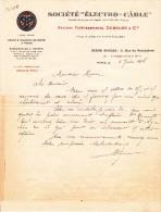 LETTRE Document Commercial Société ELECTRICITE électro Câble (Debauge & Cie) Paris 2 Rue Penthièvre En 1918 - 1900 – 1949