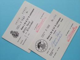 U.R.S.T.B. - K.V.B.S.V. Licence / Vergunning Armes à Air & Co2 & Luchtwapens / Anno 1967/68 ( Zie Foto´s Details) ! - Organizations