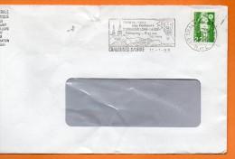 49 CHALONNES SUR LOIRE  SES VINS ( Déchirure Haut )    11 / 1 / 1993 Lettre Entière110X220  N° U 603 - Marcophilie (Lettres)