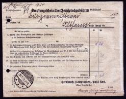 A3759) DR Empfangsschein Für Fernsprechgebühren Von Ostheim 1924 - Deutschland