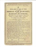 413 ( 2 Scans )   Benoit VAN WINCKEL Ne à Zele 1813 + Lokeren 1884 - Images Religieuses