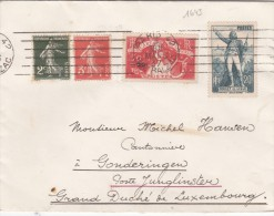 1643# ART ET PENSEE ROUGET DE LISLE SEMEUSE LETTRE Obl PARIS 42 RUE BALZAC 1937 GONDERANGE JUNGLINSTER LUXEMBOURG - 1921-1960: Modern Period