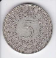MONEDA DE PLATA DE ALEMANIA DE 5 MARK DEL AÑO 1965 LETRA D   (COIN) SILVER,ARGENT. - [ 7] 1949-… : RFA - Rep. Fed. Alemana