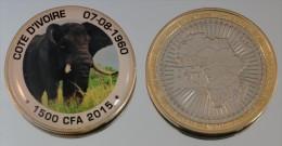 Côte D'Ivoire 1500 CFA 2015 Bimetal Couleurs Animal - Côte-d'Ivoire