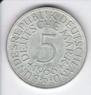 MONEDA DE PLATA DE ALEMANIA DE 5 MARK DEL AÑO 1966 LETRA D   (COIN) SILVER,ARGENT. - [ 7] 1949-… : RFA - Rep. Fed. Alemana