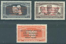 PANAMA - 1960 - MNH/*** LUXE - NACIONES UNIDAS ANO MUNDIAL REFUGIADOS - Yv PA 213-215 - Lot 13594 - Panama
