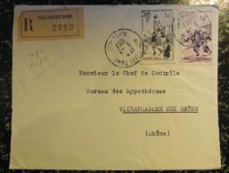 1957 Lettre Recommandée (devant) à 80F De Nice Notre Dame Alpes Maritimes Affranchissement Composé Basket + Rugby Sports - 1921-1960: Modern Tijdperk