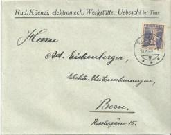 """Motiv Brief  """"Küenzi, Elektromech.Werkstätte, Uebeschi B.Thun""""              1926 - Schweiz"""