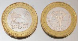 Côte D'Ivoire 6000 CFA 2003 Gbagbo Monnaie Bimétallique Précieuse Président - Côte-d'Ivoire
