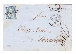 Heimat TG DOTZWEIL Stabstempel 13.7.1866 Amriswil Brief Nach Diessenhofen Mit 10Rp Sitzende Transit Fingerhut Steckborn - 1862-1881 Helvetia Assise (dentelés)