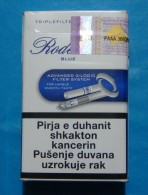 KOSOVO RODEO BLUE EMPTY HARD PACK, MACEDONIA CIGARETTES KOSOVO EDITION WITH FISCAL REVENUE STAMP. - Empty Tobacco Boxes