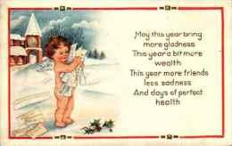 Bonne Année - 557 Ange Voeux Gaufrée Embossed - Anno Nuovo